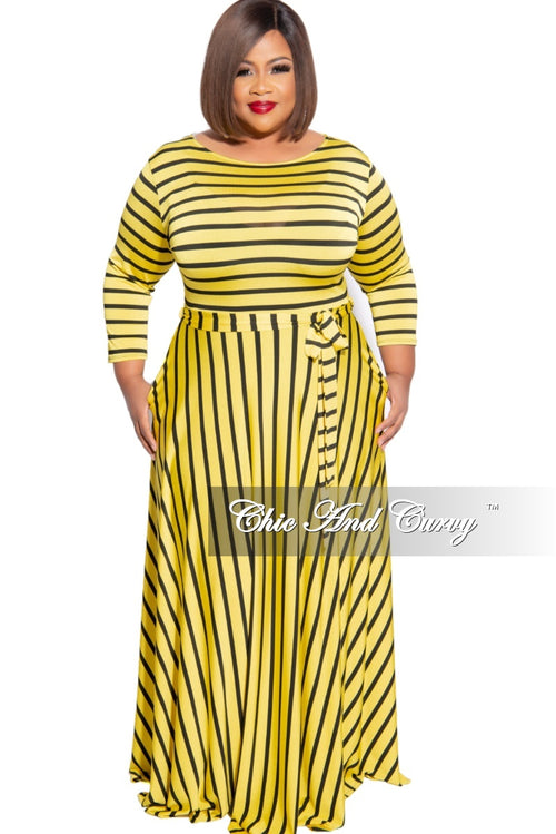 New Plus Size 3/4 Sleeve Pocket Tie Maxi in Yellow with Black Stripes