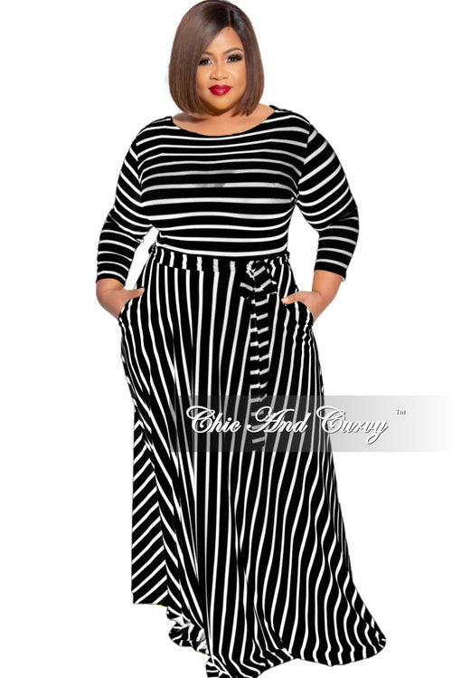 New Plus Size 3/4 Sleeve Pocket Tie Maxi in Black with White Stripes