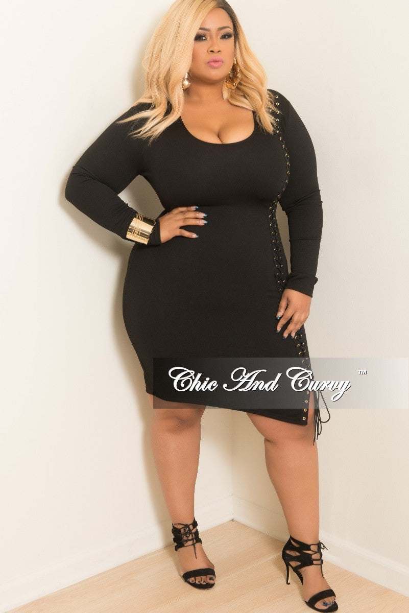 New Plus Size One Sided Lace Up BodyCon Dress in Black