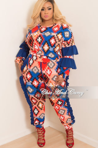 Final Sale Plus Size 2-Piece Cropped Tube Top and High Waist Pants Set in Royal Blue Camouflage Print