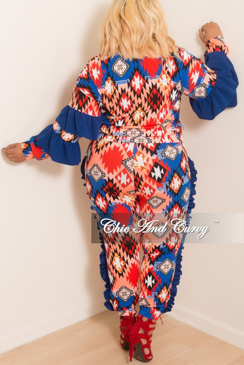 New Plus Size Aztec Printed 2-Piece Ruffle Top and Jogging Pants Set in Royal Blue Multi Color Print