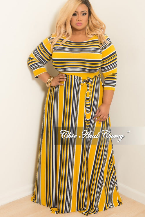 New Plus Size Stripe Long Dress with 3/4 Sleeves and Attached Tie in Mustard Navy and White