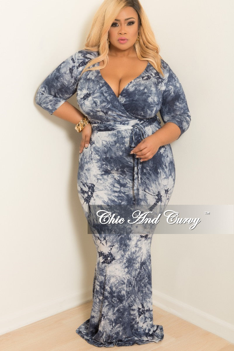 a84b3076bdc 35% Off Sale - Final Sale Plus Size Tie Dye Faux Wrap Dress with 3 4 S –  Chic And Curvy