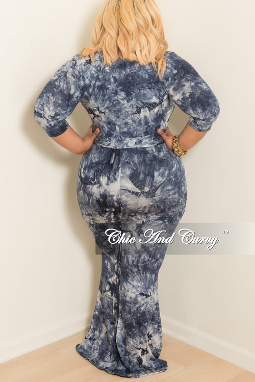 New Plus Size Tie Dye Faux Wrap Dress with 3/4 Sleeve and Attached Tie in  Navy and Grey