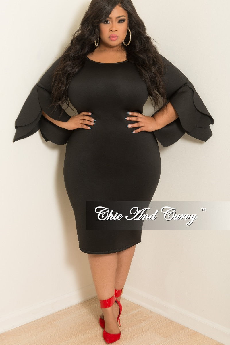 Final Sale Plus Size BodyCon Dress with Peplum Sleeves in Black ...