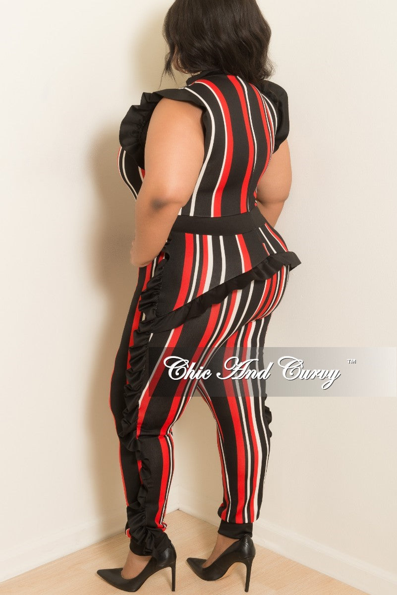 Final Sale Plus Size Striped Jumpsuit with Ruffle Trim and Back Zipper in Red Black and Off White