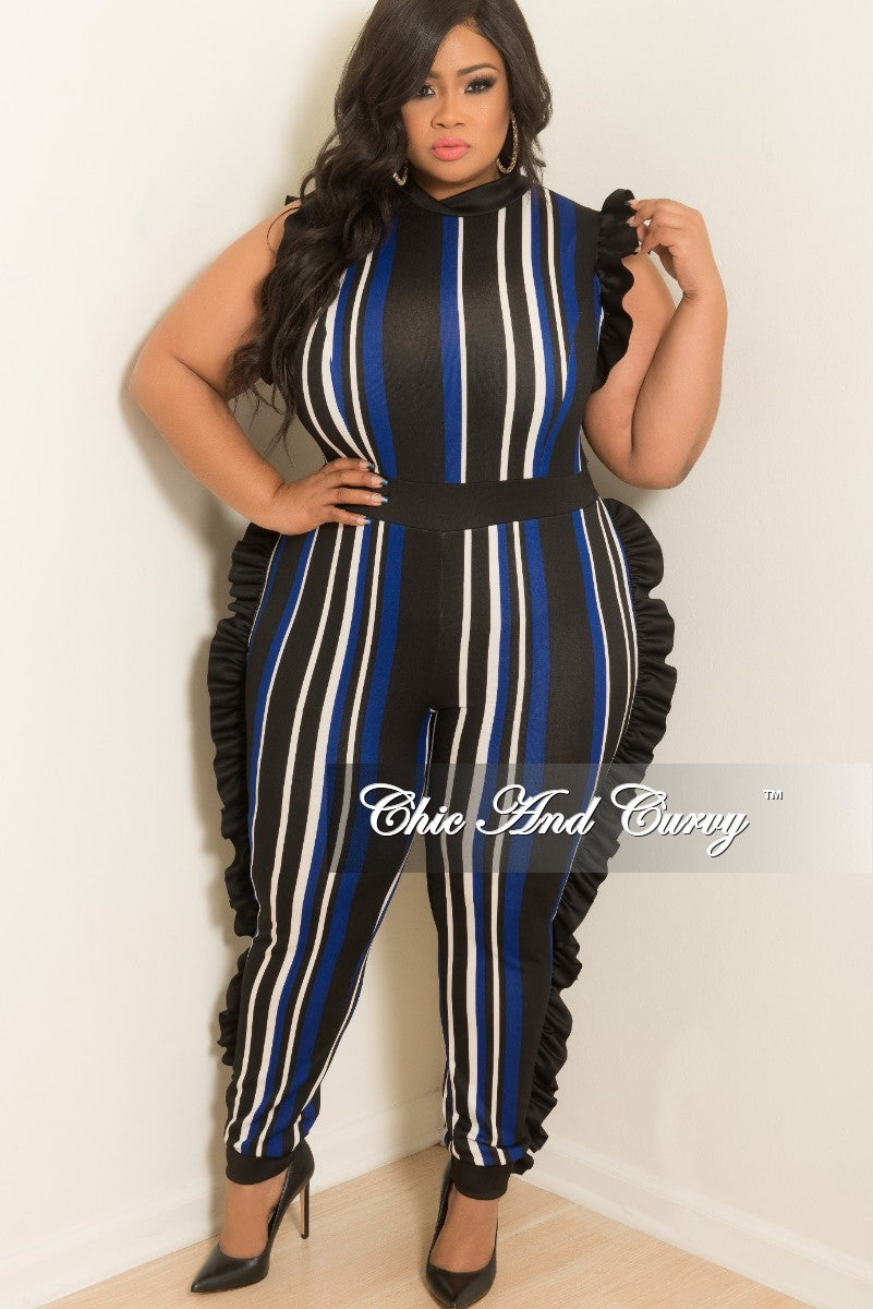 2b22b1c713a New Plus Size Striped Jumpsuit with Ruffle Trim and Back Zipper in Roy –  Chic And Curvy