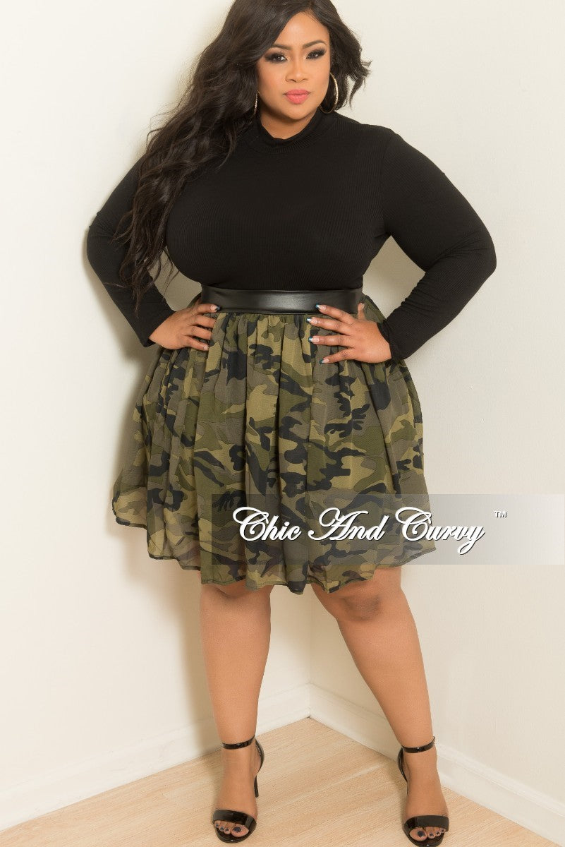 35% Off Sale - Final Sale Plus Size Camouflage (Camo) Chiffon Skater Skirt