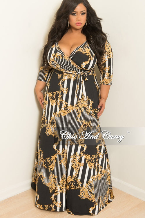 New Plus Size Deep V-Neck Faux Dress with 3/4 Sleeves in Black White and Gold Print