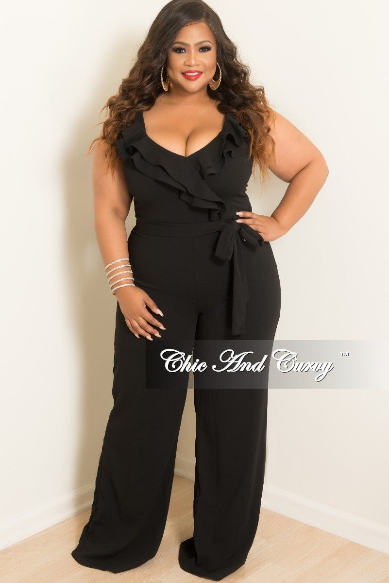 Final Sale Plus Size Cap Sleeve Jumpsuit with Tie in Black