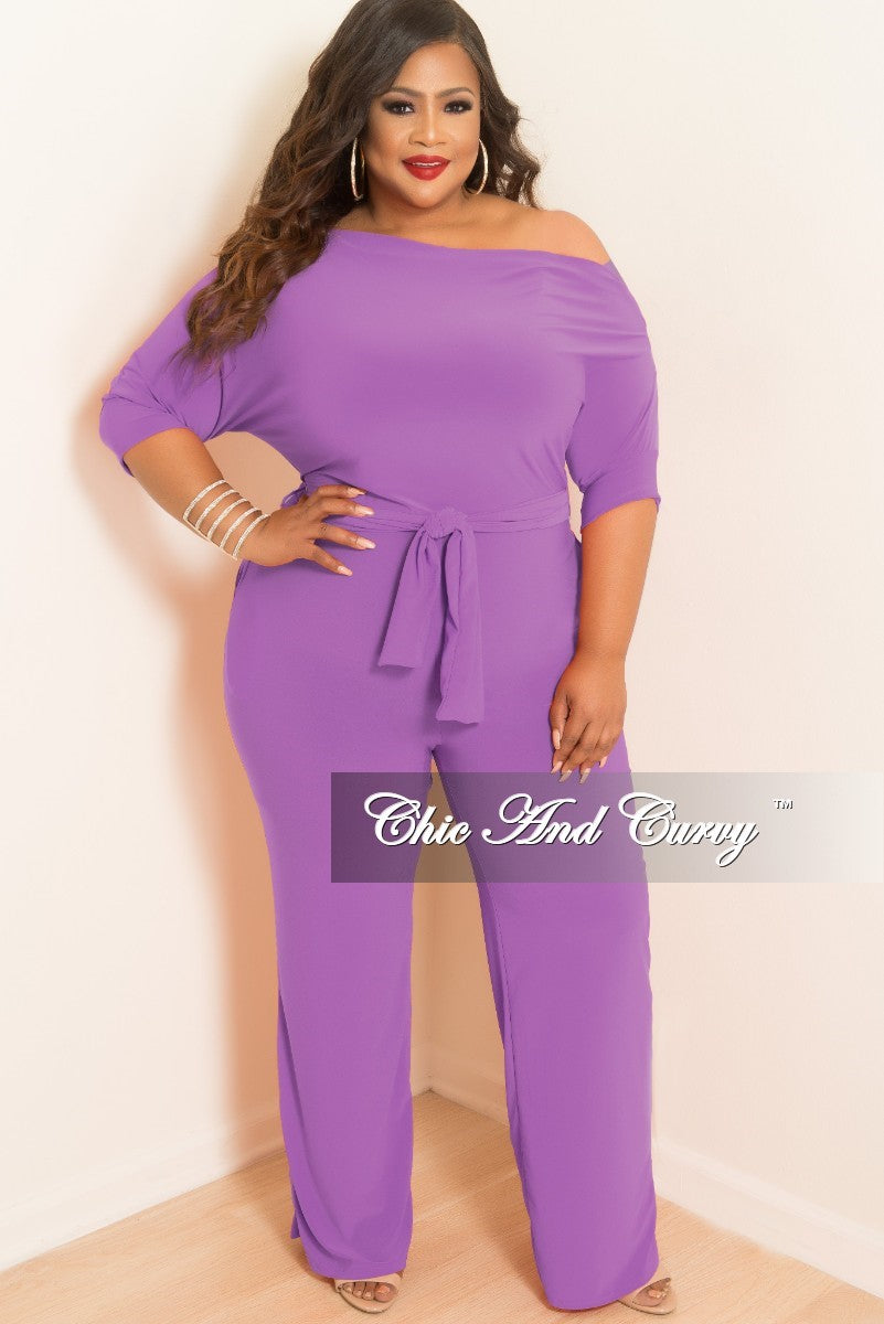 New Plus Size Jumpsuit with Attached Tie in Purple