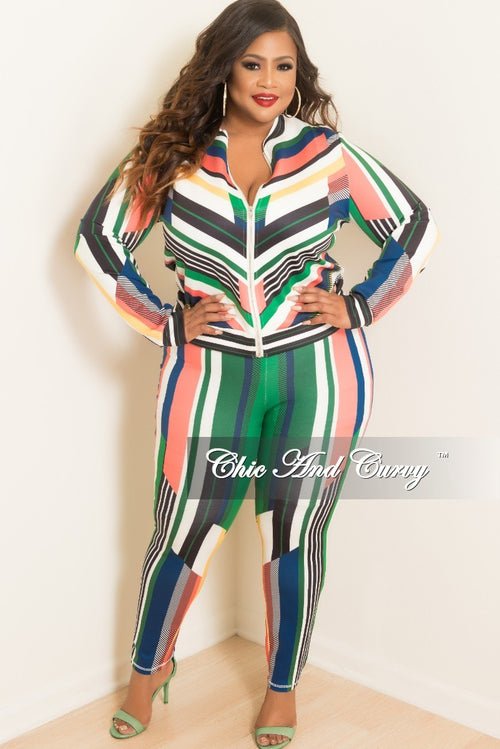 Final Sale Plus Size 2-Piece Stripe Jacket and Pants Set in Green Multi Color Print