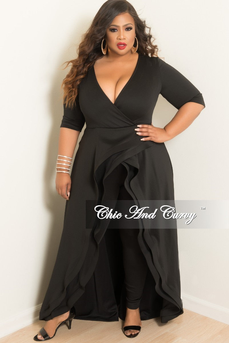 Final Sale Plus Size V-Neck Jumpsuit with Attached Ruffle Skirt in Black