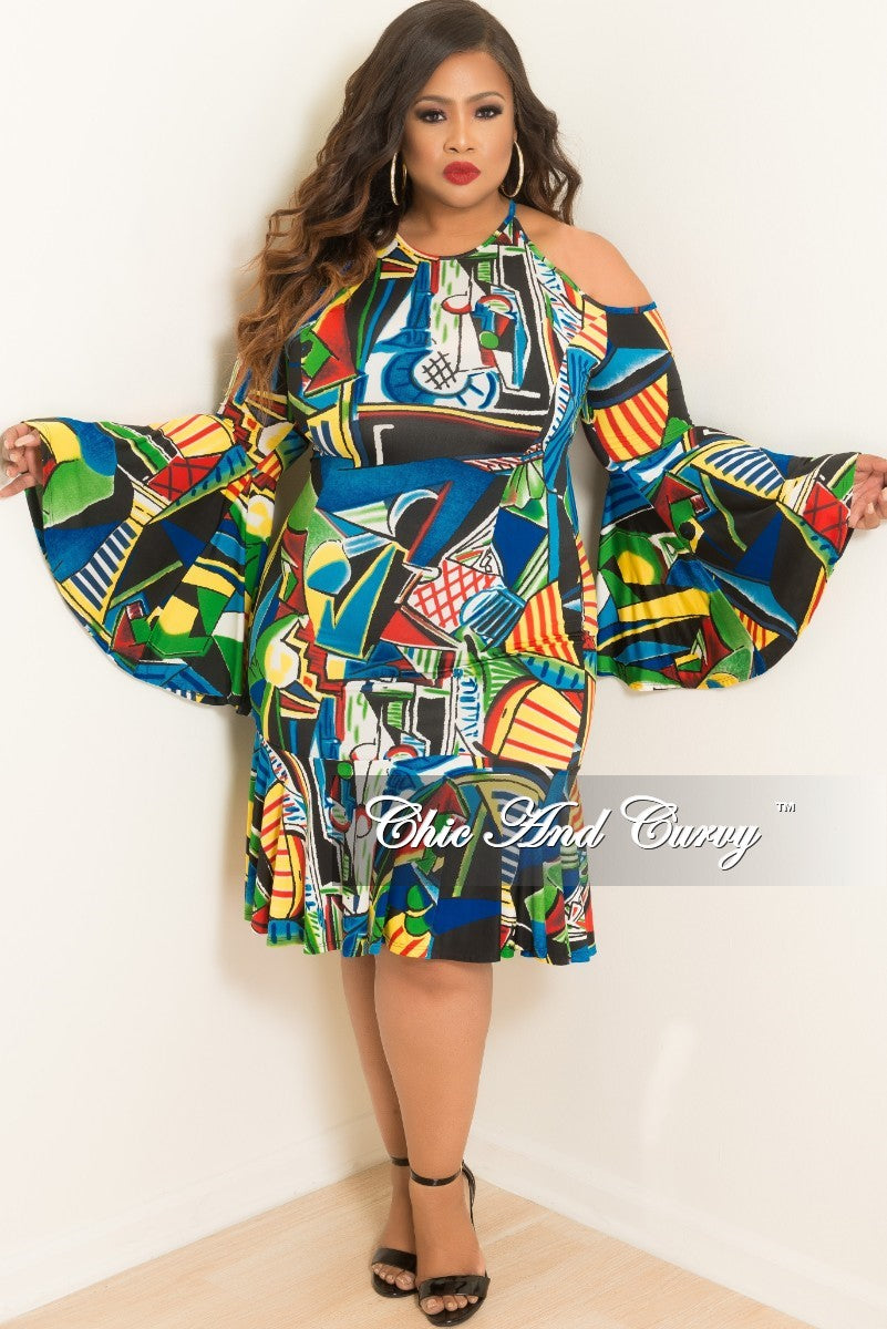 New Plus Size Cold Shoulder Dress with Bell Sleeves and Back Zipper in Royal Blue Multi-Color Design Print