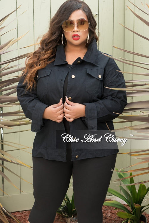 Final Sale Plus Size Denim Jacket with Chain Back in Black and Gold