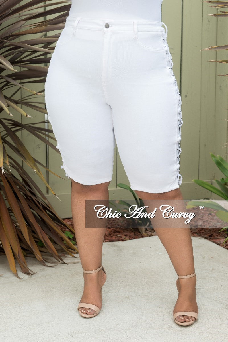 b5d55db2694 Final Sale Plus Size Bermuda Shorts with Lace-Up Sides in White ...