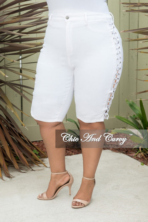 Final Sale Plus Size Bermuda Shorts with Lace-Up Sides in White