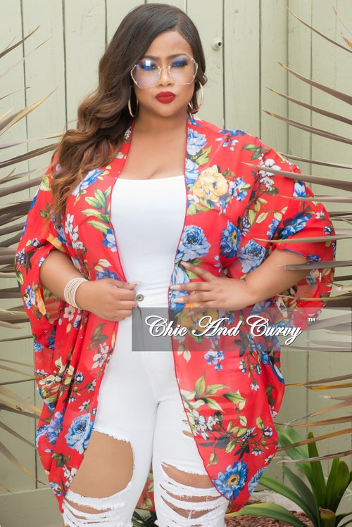 New Plus Size Chiffon Duster in Red Floral Print