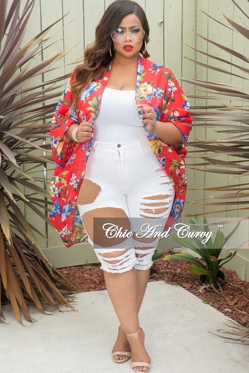 Final Sale Plus Size Distressed Bermuda Shorts in White