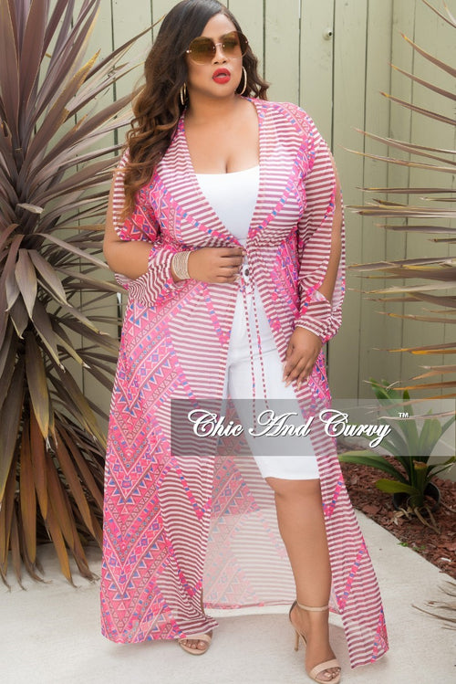 Final Sale Plus Size Long Sleeve Mesh Cover-Up with Front Tie in Pink Multi Color