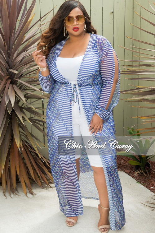 Final Sale Plus Size Long Sleeve Mesh Cover-Up with Front Tie in Blue Multi Color
