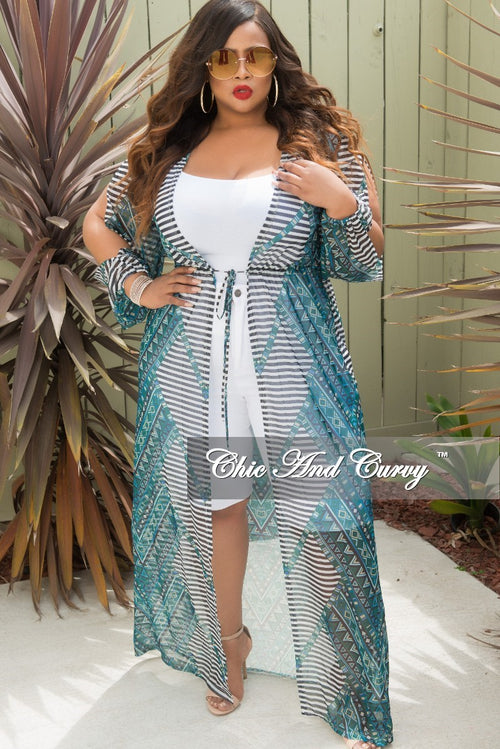 Final Sale Plus Size Long Sleeve Mesh Cover-Up with Front Tie in Olive Multi Color