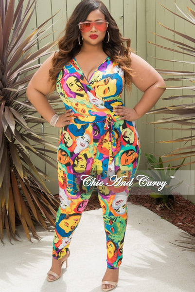 New Plus Size Sleeveless Faux Wrap Jumpsuit with Attached Tie in Light Multi Color Cartoon Print