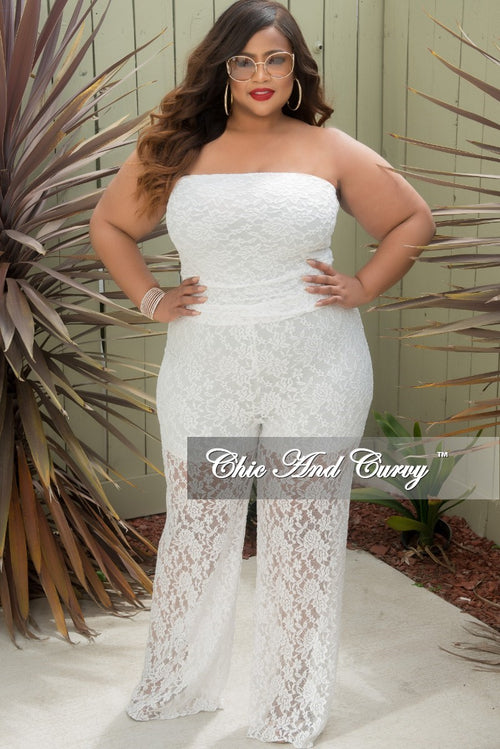 Final Sale Plus Size Strapless Jumpsuit in Lace w/ Shorts Attached in White