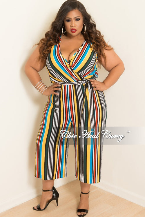 Final Sale Plus Size Sleeveless Culottes Jumpsuit in Multi-Color Stripes