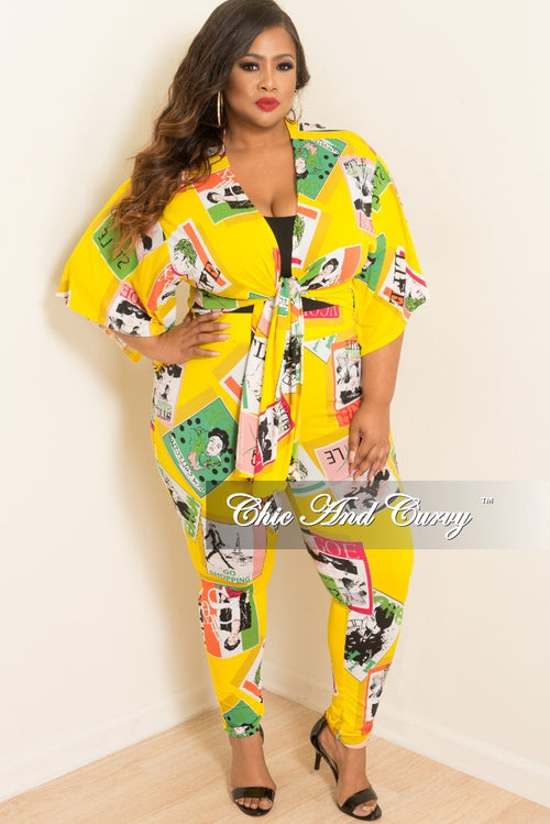 Final Sale Plus Size 2-Piece Kimono Sleeves Tie Top and Pants Set in Yellow Multi Colored Magazine Cover Print