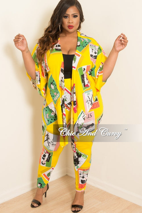 New Plus Size 2-Piece Kimono Sleeves Tie Top and Pants Set in Yellow Multi Colored Magazine Cover Print