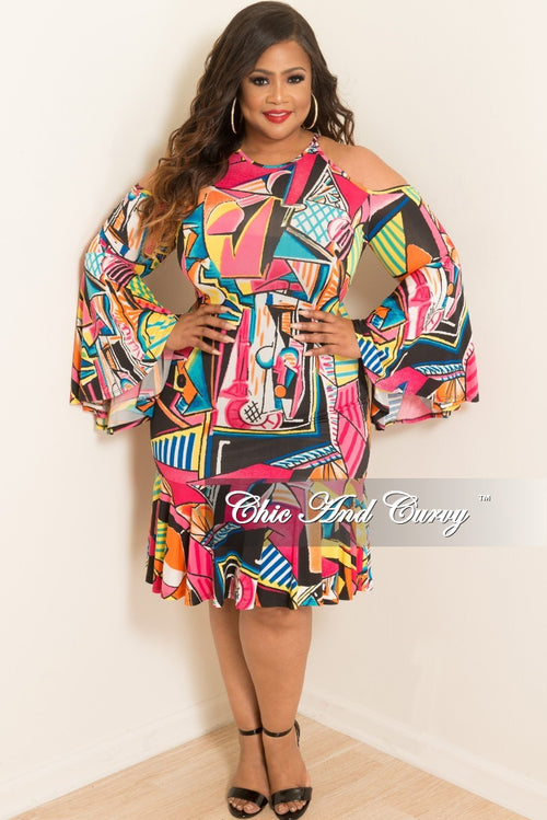 New Plus Size Cold Shoulder Dress with Bell Sleeves and Back Zipper in Hot Pink Multi-Color Design Print