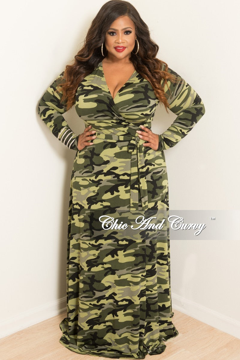 New Plus Size Sale Plus Size Long Wrap Dress with Attached Tie in Lime Camouflage Print