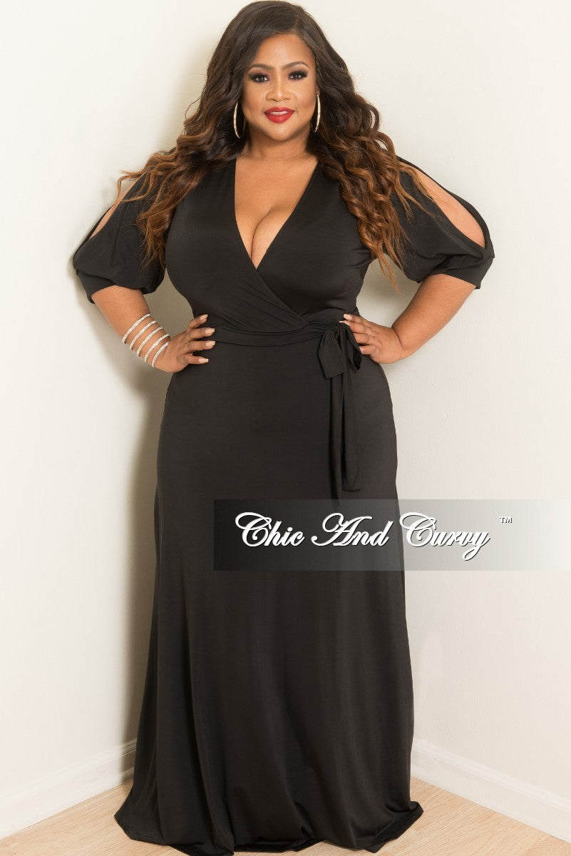 New Plus Size Faux Wrap Dress with Slit Sleeves in Black