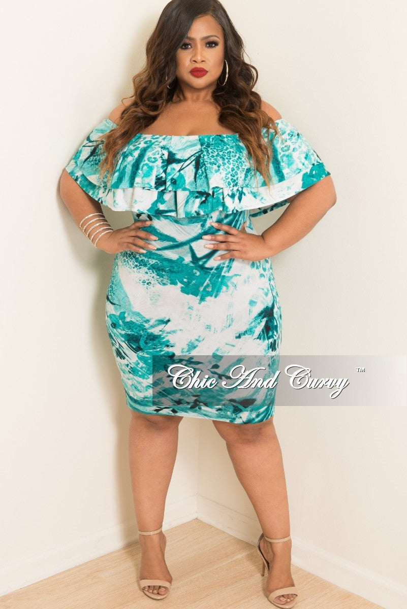 New Plus Size Off the Shoulder BodyCon Ruffle Dress in Teal White ...