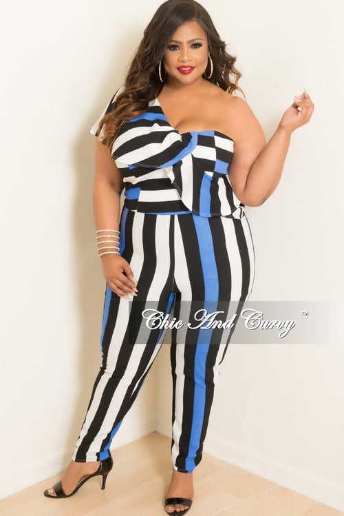 Final Sale Plus Size One Shoulder Ruffle Jumpsuit in Blue Black and White