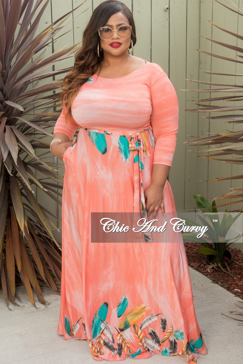 Final Sale Plus Size Long Pocket Dress with 3/4 Sleeve and Tie in Pink Leaf Print