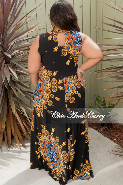 New Plus Size Sleeveless Faux Wrap Dress in Black Orange Yellow and Royal Blue