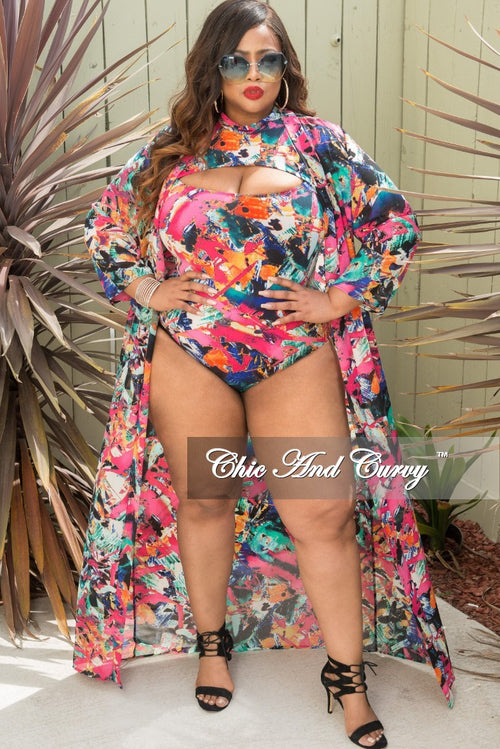 Final Sale Plus Size 2 Piece Poolside Playsuit in Multi Color Print