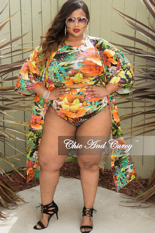 56b94a4afbaee Final Sale Plus Size 3-Piece Playsuit in Orange and Green Floral Print.    69.00. New Plus Size Plus Size Marilyn Monroe Long Sleeve Top with Shredded  Back ...