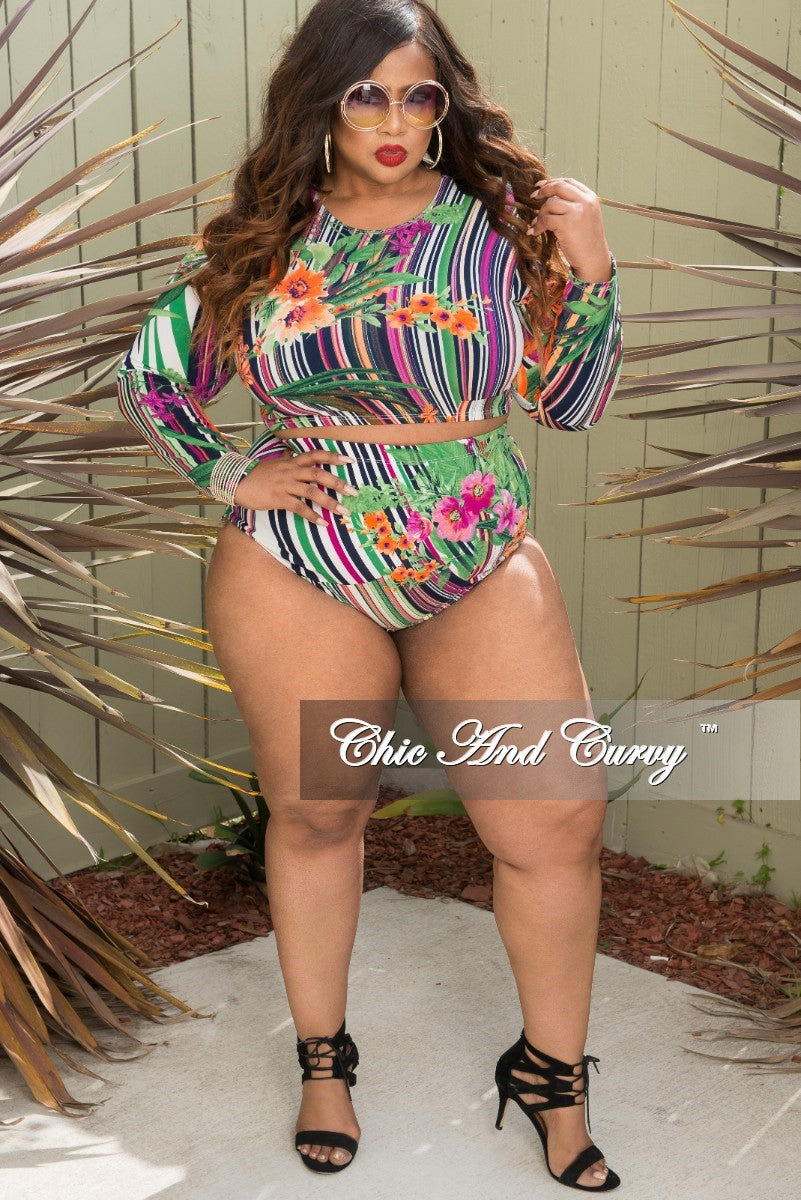 Final Sale Plus Size 2-Piece Crop Top and Brief Poolside Playsuit in Multicolored Stripe Print