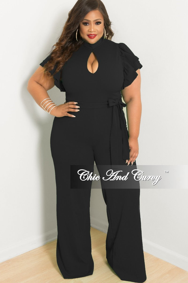 Final Sale Plus Size Ruffle Sleeve Jumpsuit With Keyhole In Black