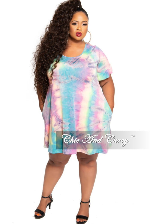 New Plus Size Baby Doll Pocket Dress in Rainbow Print