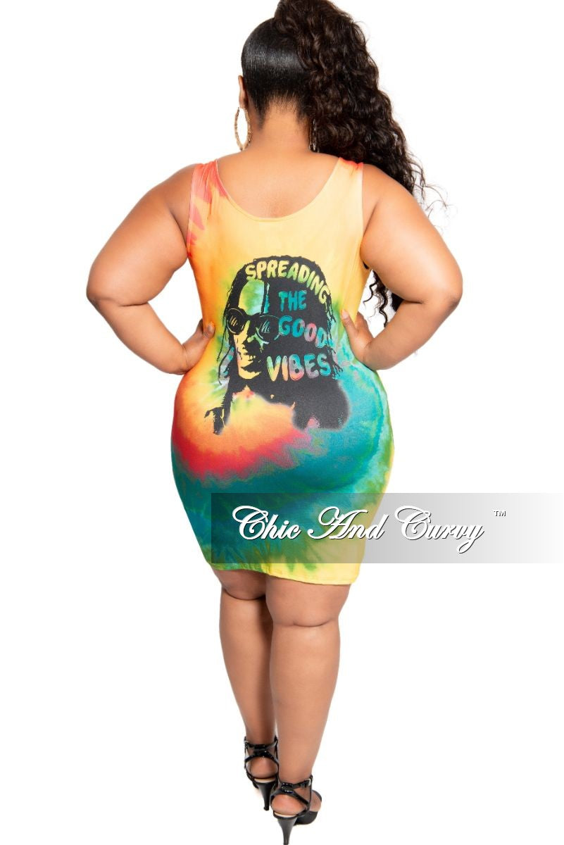 Final Sale Plus Size Tank Sleeve Spreading The Good Vibes BodyCon Dress in Multi Color Tie Dye Print