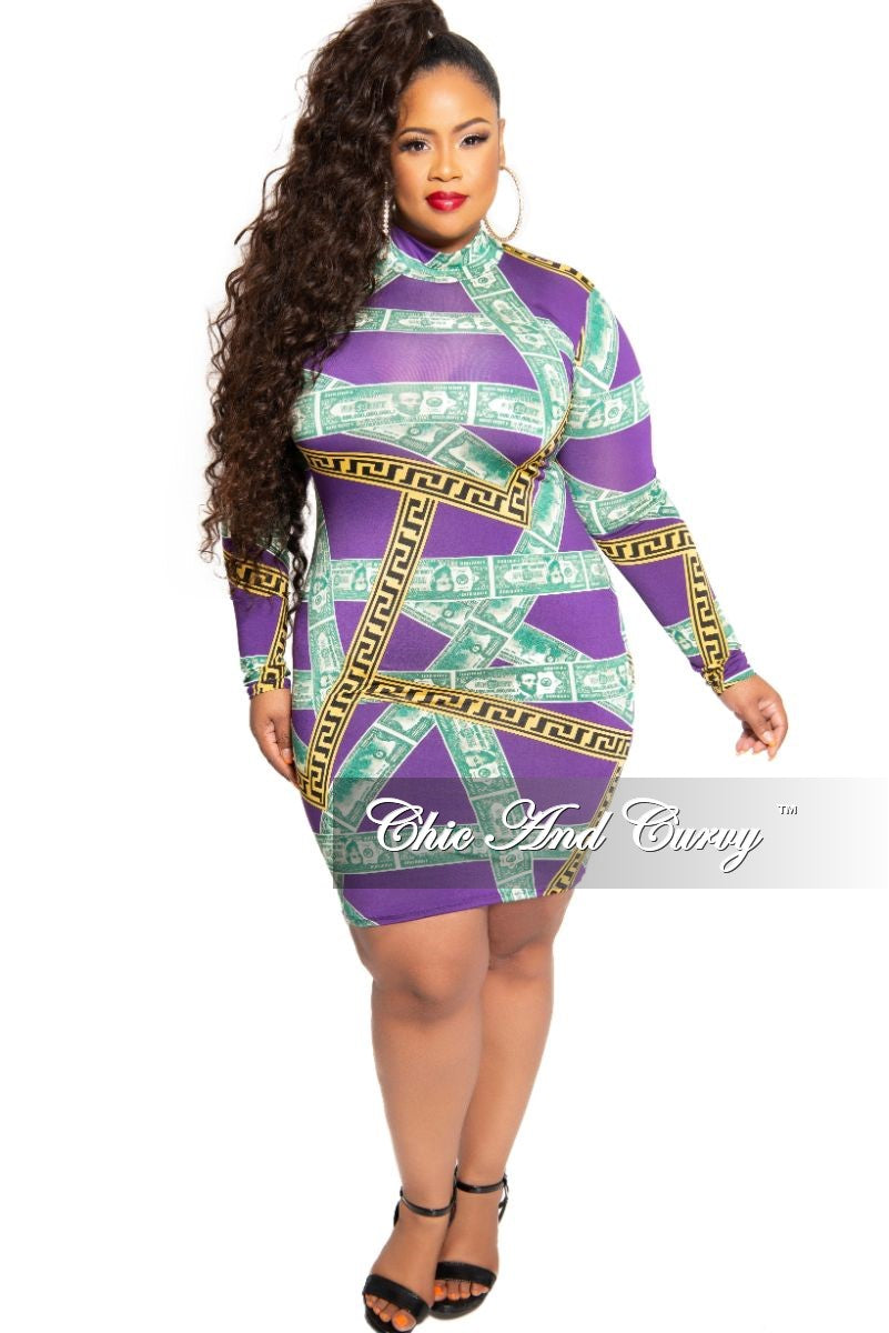 Final Sale Plus Size Mock Neck Money Design BodyCon Dress in Purple Maze Print