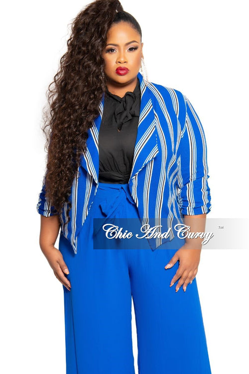 New Plus Size Blazer in Royal Blue White and Black Stripe Print