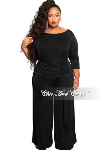 New Plus Size Exclusive 2-Piece Set Crop Top and High Waist Pant Set in Black French Terry