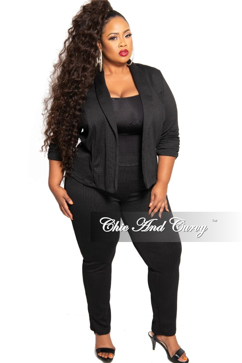 New Plus Size 2-Piece Jacquard Plaid Jacket and Pants Suit in Black