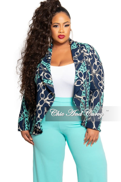 New Plus Size Chain Print Blazer in Navy Teal and Grey