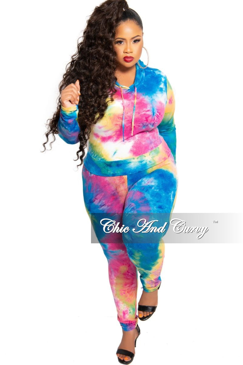 New Plus Size 2-Piece Hooded Pull Over Top and Pants Set in Multi Color Tie Dye Print